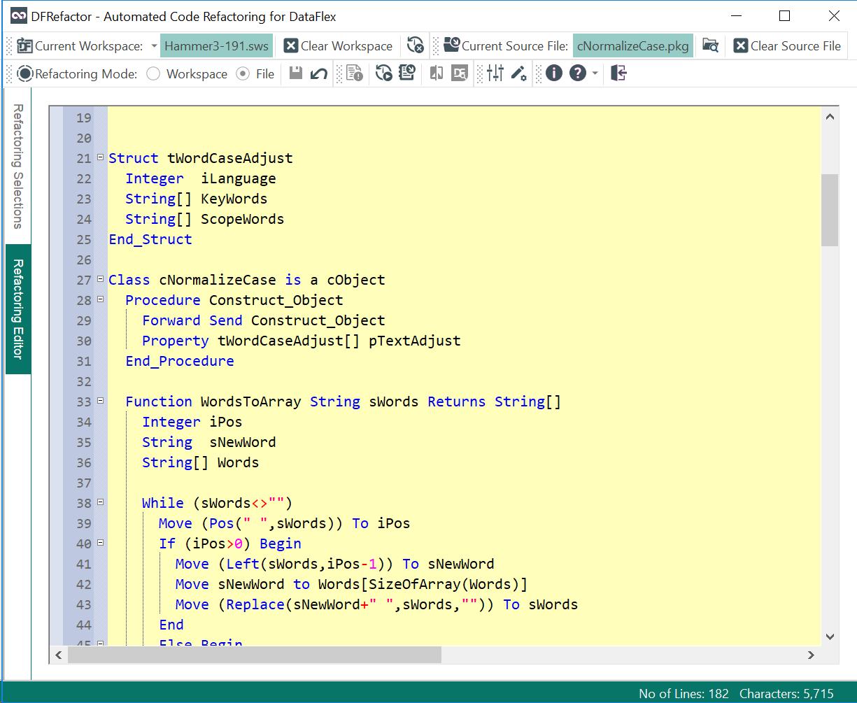 DfRefactor Editor Screenshot